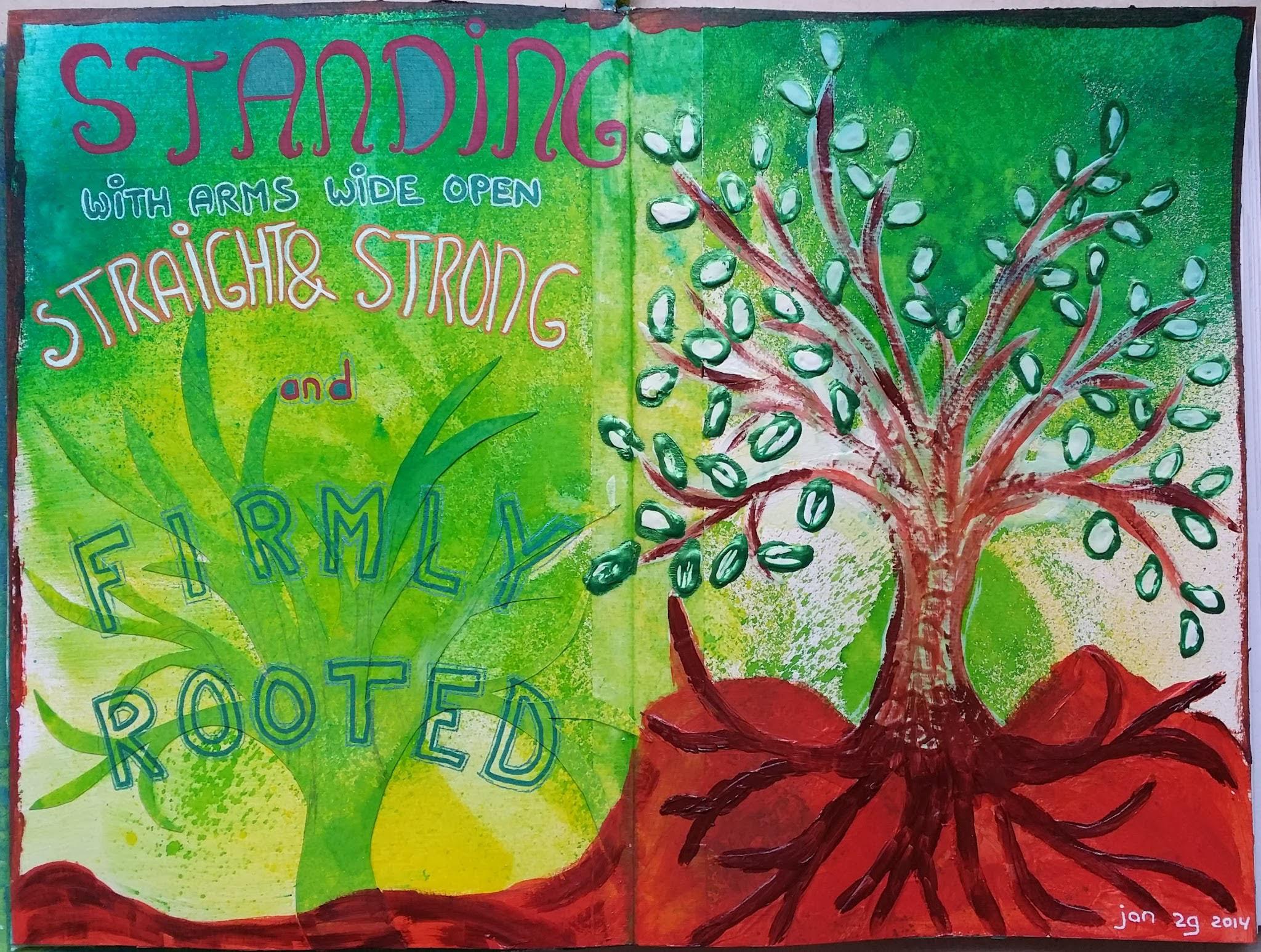 tree art journal spread